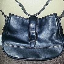 Coach Black Leather Hampton Flap Shoulder Bag 7583 Classic Handbag Purse Hobo   Photo