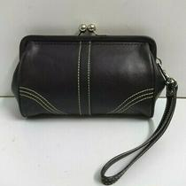 Coach Black Leather Kisslock Coins Purse Wristlet Wallet Clutch Photo