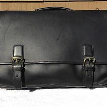 Coach Black Leather Laptop Briefcase 16 1/2 X 12 X 4 Brand New Photo