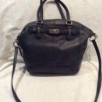 Coach Black Leather Large Handbag With Shoulder Strap Photo