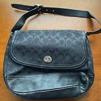 Coach Black Leather Legacy Turnlock Purse Tote Handbag Extra Large E1393-F23933 Photo