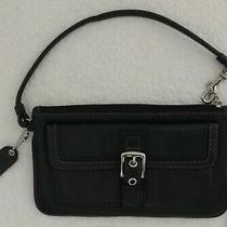 Coach Black Leather Mobile Phone Wallet Wristlet Clutch Case Coin Purse Handbag Photo
