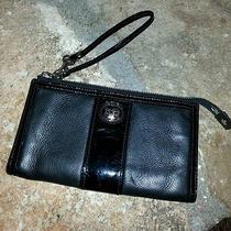 Coach Black Leather & Patent Leather Trim Wrist-Let Wallet    Photo