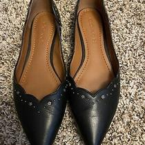 Coach Black Leather Pointed Toe Ballerina Flats With a Flower Studs Size 7 Photo