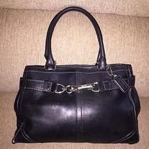 Coach Black Leather Satchel Handbag S/n E06f-8a70 Authentic Photo