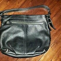 Coach Black Leather Shoulder Tote Handbag Purse Photo