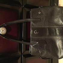 Coach Black Leather Signature Perforated Satchel Bag Photo