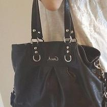 Coach Black Leather Silver Ashley Satchel Carryall Tote Bag F15513 Authentic Photo
