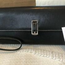 Coach Black Leather Sleek Elongated Buckle Wallet Red Interior Wristlet Mint Photo