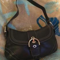 Coach Black Leather Soho Flap Shoulder Handbag / Purse E0778-F10910 Photo