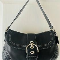 Coach Black Leather Soho Hobo Flap Buckle Shoulder Bag Euc Photo
