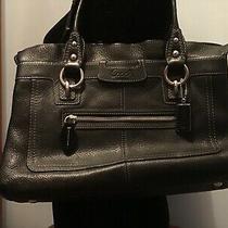 Coach Black Leather Soho Shoulder Bag Handbag Purse Satchel Scalloped Top Photo