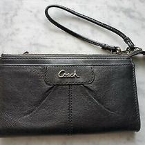 Coach Black Leather Top Zip Wristlet Wallet Photo
