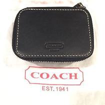 Coach Black Leather Triple Pill Box New Photo