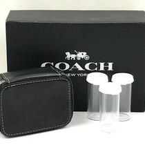Coach Black Leather Triple Pill Case Travel Box W/clear Pill Bottles Photo