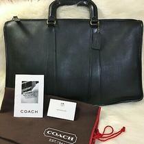 Coach Black Leather Vintage Handle Portfolio Briefbag Attache Laptop 5286  Photo