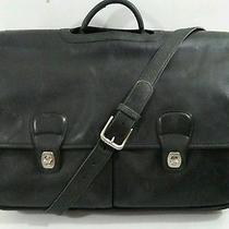 Coach Black Leather Vintage Laptop Briefcase Messenger Crossbody Bag H9s-032 Photo