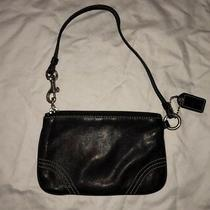 Coach Black Leather Wristlet Coin Purse Clutch Wallet Authentic Nwot Photo
