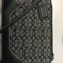 Coach Black Leather Wristlet Logo Print Wristlet Photo