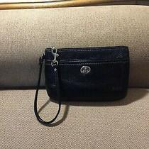 Coach Black  Leather  Wristlet Medium Pouch  Wallet Photo