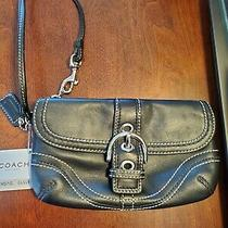 Coach Black Leather Wristlet Purse Photo