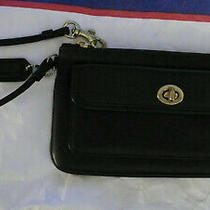 Coach Black Leather Wristlet W Turnkey Coin Pouch. New. Free Continental Us Ship Photo