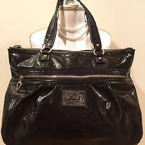 Coach Black Liquid Daisy Glam Tote Handbag F20004 Photo