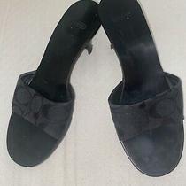 Coach Black Logo Slides Mules Kitten Heels Sandals Shoes Sale Photo