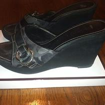 Coach Black Logo Wedge Suede 10 Photo