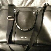 Coach Black Metropolitan Cross Grain Leather Bag Messenger Briefcase W/strap Lg Photo