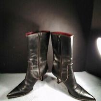 Coach Black Mid Calf Boots Leather Sammi Stiletto 7.5 B Heel Pointed Toe Italy Photo