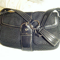 Coach Black Monogram Fabric & Leather Trim Handbag  -Single Strap Satchel Purse  Photo