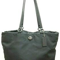 Coach Black Nylon and Leather Tote  F57903 Carryall Shoulder Hand Bag Purse Photo