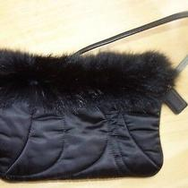 Coach Black Nylon Quilted Rabbit Fur Trim Winter Christmas Wristlet Clutch Photo