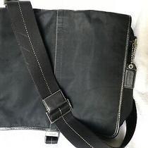 Coach Black Nylon Shoulder Bag Leather Trim Photo
