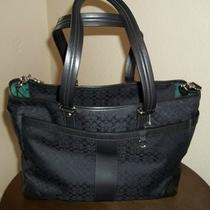 Coach Black on Black Signature Diaper Bag/messenger 398.00 Nwt F77156 Photo