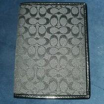 Coach Black on Grey Signature Mini C Patent Leather Trim Passport Wallet  Photo