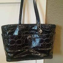 Coach Black Op Patent Leather Xl Black Diaper Bag Photo