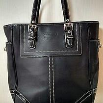 Coach Black Patent Leather Accentef Hampton Legacyblarge Tote Photo