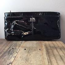 Coach Black Patent Leather Cluth Purse W/built in Card Slots & Detachable Handle Photo