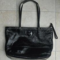 Coach Black Patent Leather Stitched Tote Satchel Shoulder Bag Handbag F15142  Photo