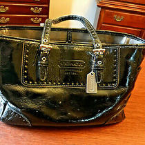 Coach Black Patent Leather Tote Satchel Handbag Purse 1432 Photo