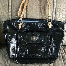 Coach Black Patent Leather Tote Shoulder Bag-F14662 Large Photo
