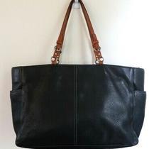 Coach Black Pebbled Leather Tote Shoulder Purse Bag Brown Straps Photo