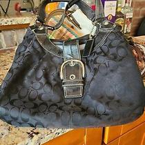 Coach Black Purse With Black Leather Trim and Large Silver Buckle Photo