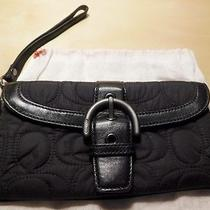 Coach Black Quilted Fabric  Leather Wristlet Purse W/ Storage Bag Photo