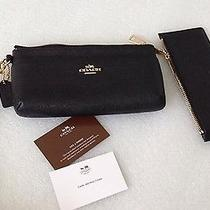 Coach Black Saffiano Leather Iphone Cell Phone Wristlet/clutch/wallet - Nwt Photo