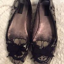 Coach Black Signature Bow Flats. Size 9.5b Photo