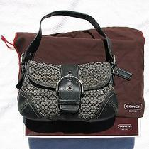 Coach Black Signature Flap Purse W/dust Bag & Box Photo