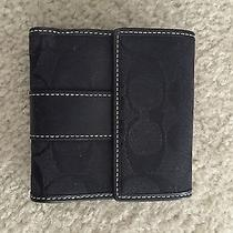 Coach Black Signature Jacquard and Leather Small Wallet Like New Photo